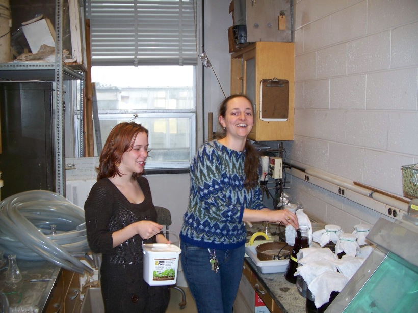 Hilary and I goofing around in the greenhouse lab while taking electrical conductivity measurements on non-aerated vermicompost extracts.