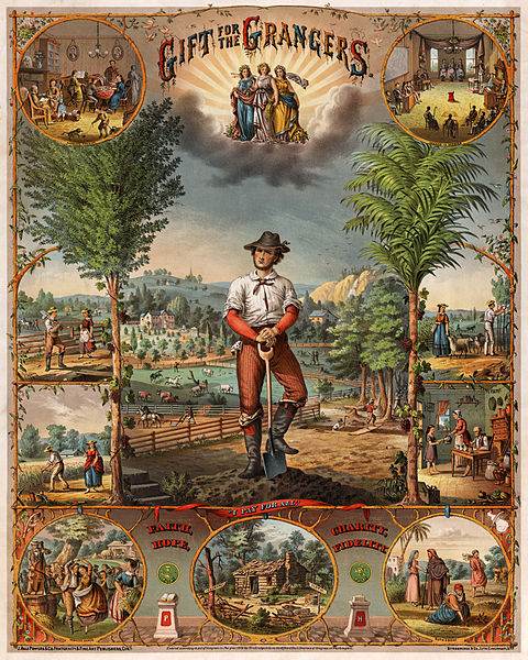 Gift for the grangers / J. Hale Powers & Co. Fraternity & Fine Art Publishers, Cin'ti. ; Strobridge & Co. Lith. Cincinnati, O. Promotional print for Grange members showing scenes of farming and farm life. Source: Wikipedia