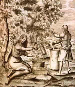 Haudenosaunee women grinding corn, unidentified 1664 engraving http://en.wikipedia.org/wiki/File:Iroquois_women_work.JPG